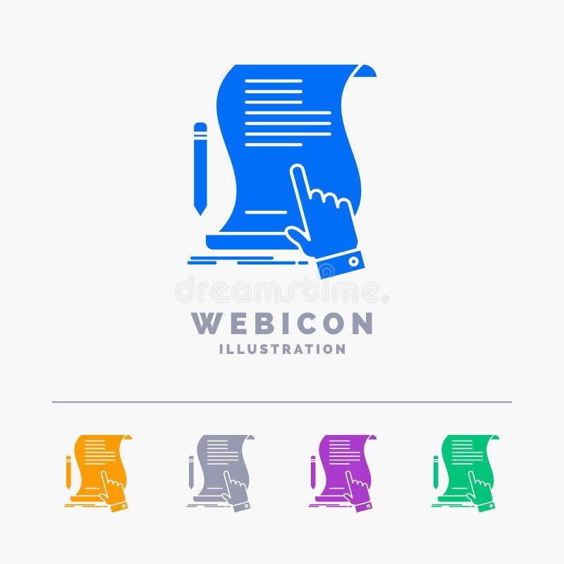 Vertrag, Dokument, Papier, Zeichen, Vereinbarung, Anwendung 5 Farbeglyph-Netz-Ikonen-Schablone lokalisiert auf Weiß Auch im corel lizenzfreie abbildung