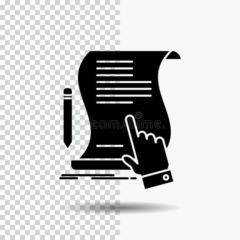 Vertrag, Dokument, Papier, Zeichen, Vereinbarung, Anwendung Glyph-Ikone auf transparentem Hintergrund Schwarze Ikone stock abbildung