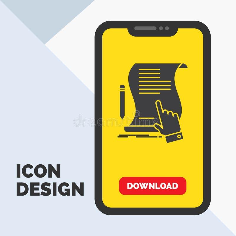 Vertrag, Dokument, Papier, Zeichen, Vereinbarung, Anwendung Glyph-Ikone im Mobile für Download-Seite Gelber Hintergrund vektor abbildung