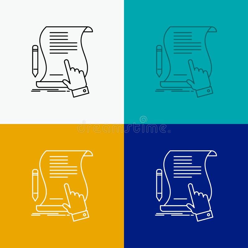 Vertrag, Dokument, Papier, Zeichen, Vereinbarung, Anwendung Ikone über verschiedenem Hintergrund r lizenzfreie abbildung