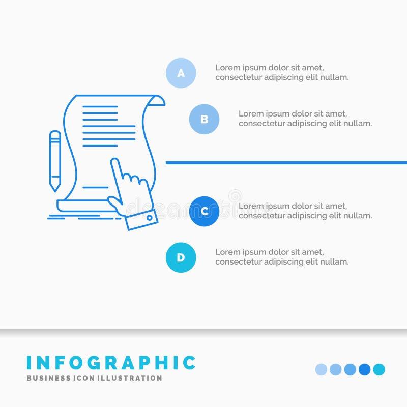 Vertrag, Dokument, Papier, Zeichen, Vereinbarung, Anwendung Infographics-Schablone für Website und Darstellung Linie blaue Ikone stock abbildung