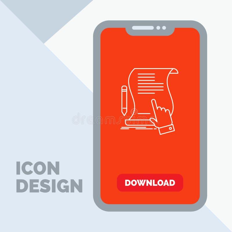 Vertrag, Dokument, Papier, Zeichen, Vereinbarung, Anwendung Linie Ikone im Mobile für Download-Seite lizenzfreie abbildung