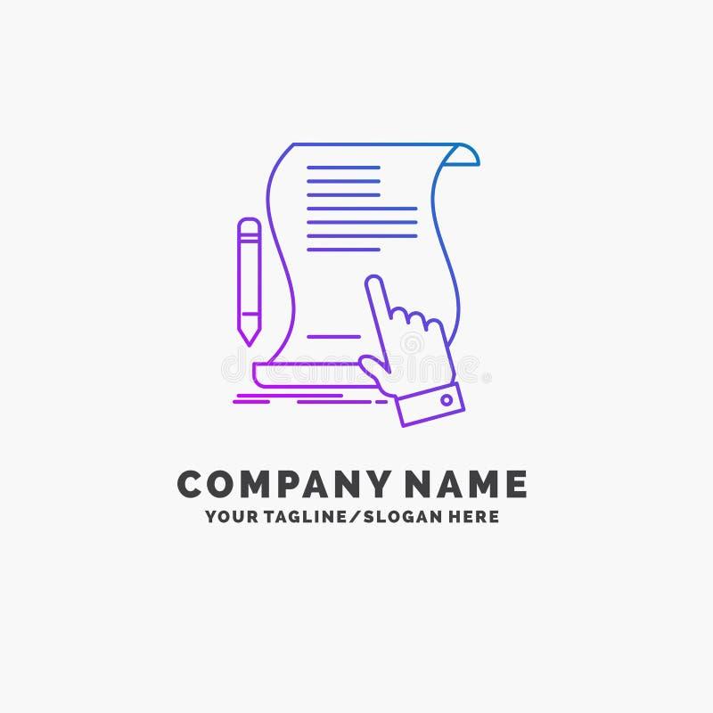 Vertrag, Dokument, Papier, Zeichen, Vereinbarung, Anwendung purpurrotes Geschäft Logo Template Platz f?r Tagline lizenzfreie abbildung