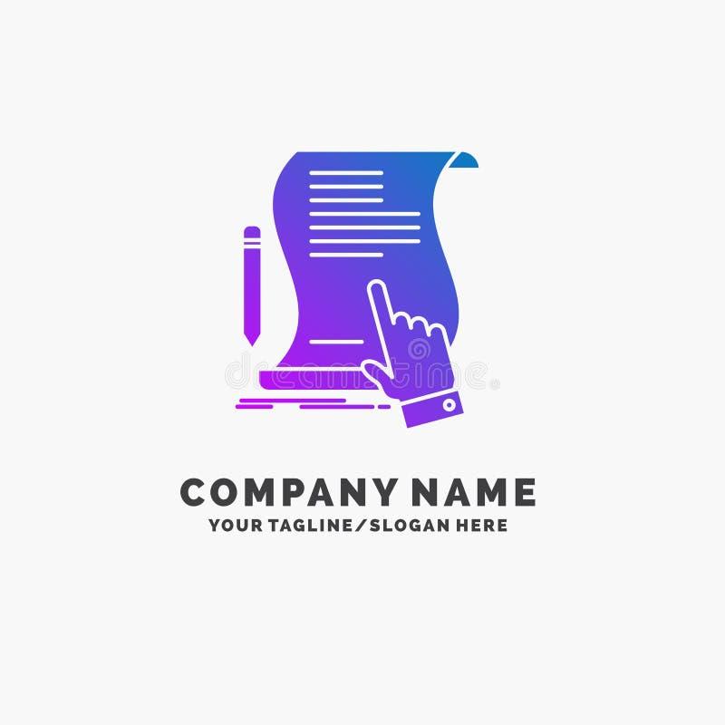 Vertrag, Dokument, Papier, Zeichen, Vereinbarung, Anwendung purpurrotes Gesch?ft Logo Template Platz f?r Tagline lizenzfreie abbildung