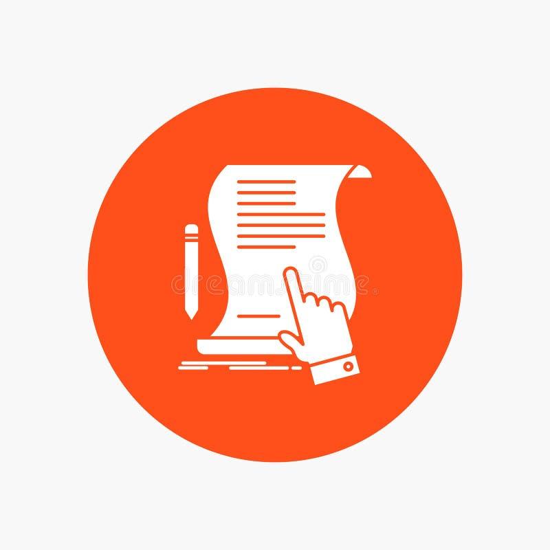 Vertrag, Dokument, Papier, Zeichen, Vereinbarung, Anwendung weiße Glyph-Ikone im Kreis Vektor-Knopfillustration vektor abbildung