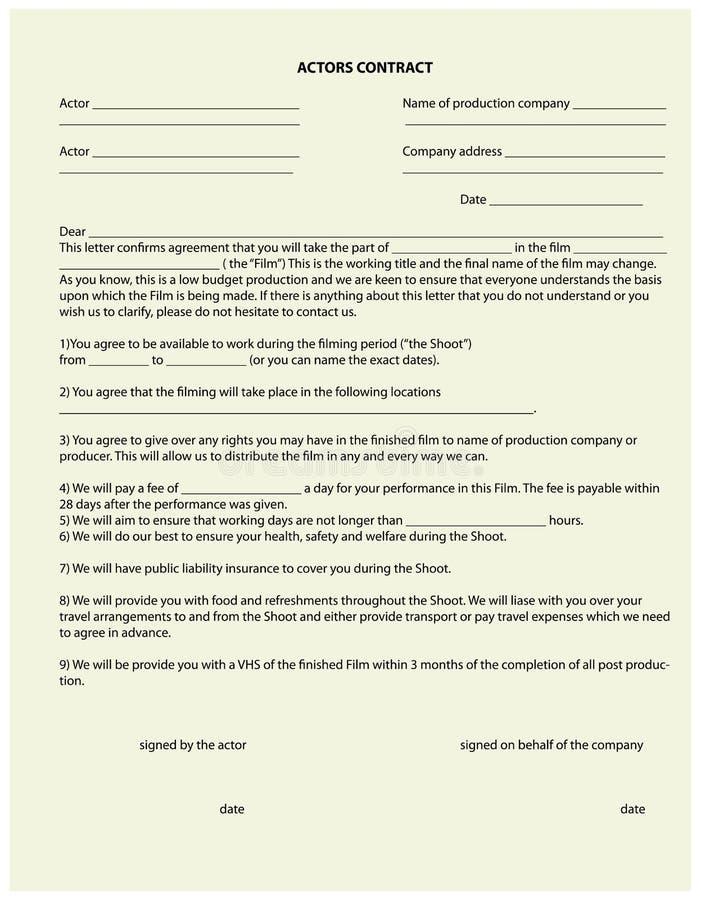 Vertrag für den Schauspieler lizenzfreie abbildung