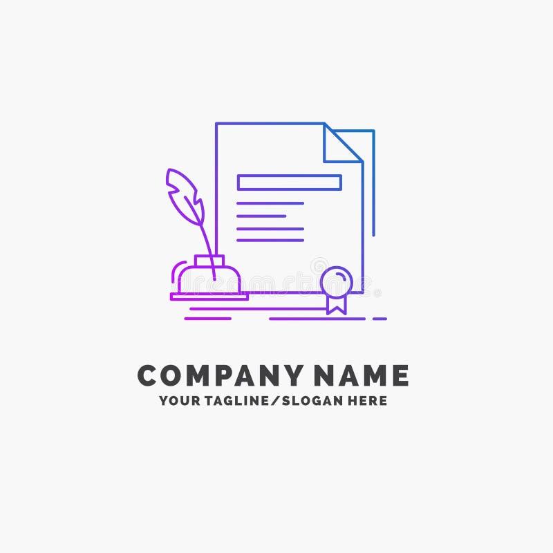 Vertrag, Papier, Dokument, Vereinbarung, Preis purpurrotes Geschäft Logo Template Platz f?r Tagline stock abbildung