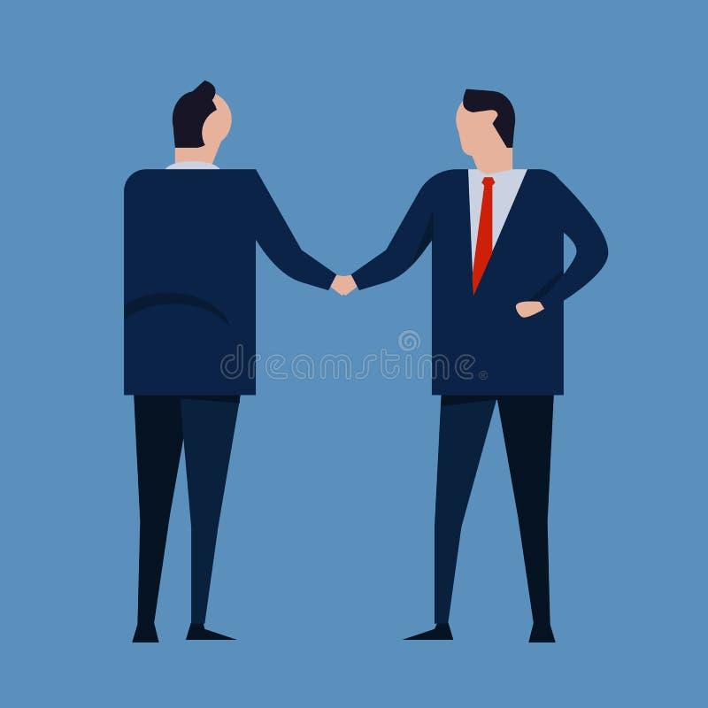 Vertragsvereinbarung Geschäftsleute, welche die tragende Reihe des Händedrucks formal stehen Konzeptgeschäftsvektor stock abbildung