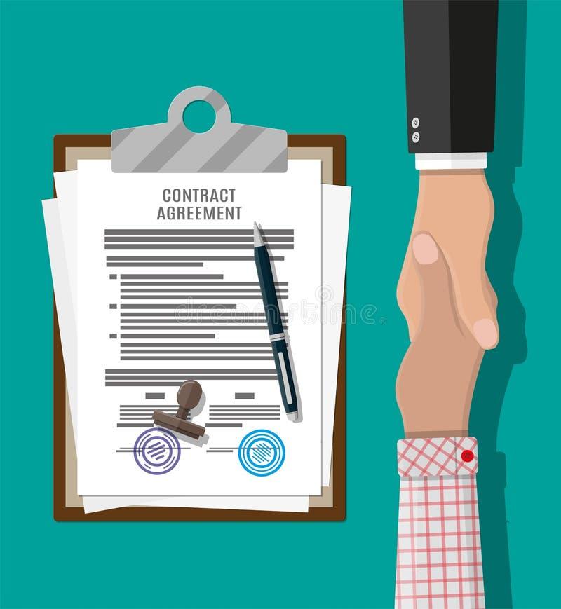 Vertragsvereinbarungspapier und -händedruck lizenzfreie abbildung