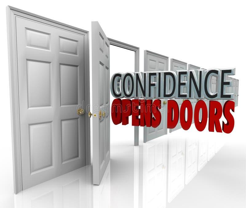 Vertrauen öffnet Tür-Wörter im Eingang lizenzfreie abbildung