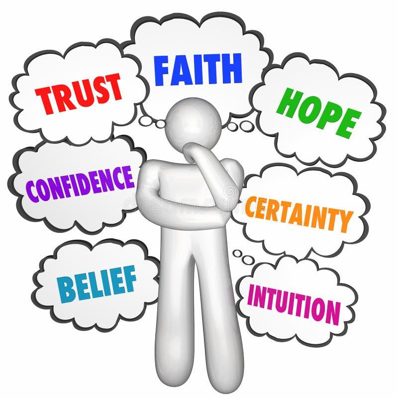 Vertrauens-Glauben-Hoffnungs-Vertrauen, das Person Thought Clouds denkt lizenzfreie abbildung