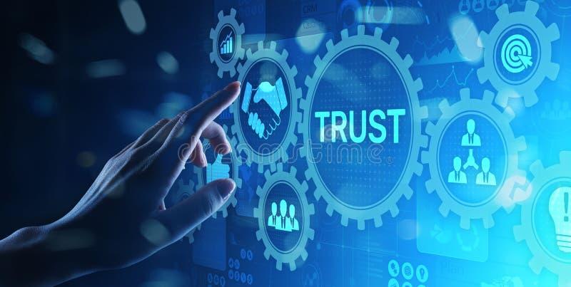 VertrauensKundschaftsbeziehungs-Zuverl?ssigkeitsgesch?ftskonzept Zeigen und Dr?cken auf virtuellen Schirm stockfotografie