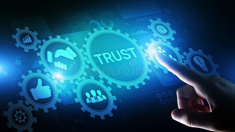 VertrauensKundschaftsbeziehungs-Zuverl?ssigkeitsgesch?ftskonzept Zeigen und Dr?cken auf virtuellen Schirm stockfoto