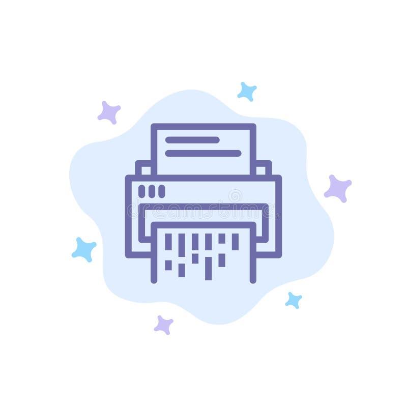 Vertraulich, Daten, Löschung, Dokument, Datei, Informationen, Reißwolf-blaue Ikone auf abstraktem Wolken-Hintergrund lizenzfreie abbildung
