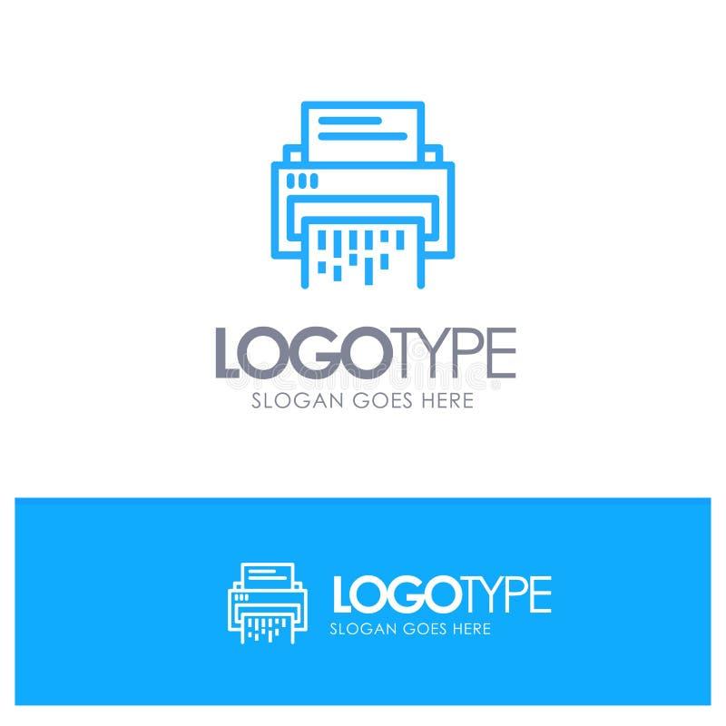 Vertraulich, Daten, Löschung, Dokument, Datei, Informationen, Reißwolf-blauer Entwurf Logo Place für Tagline vektor abbildung