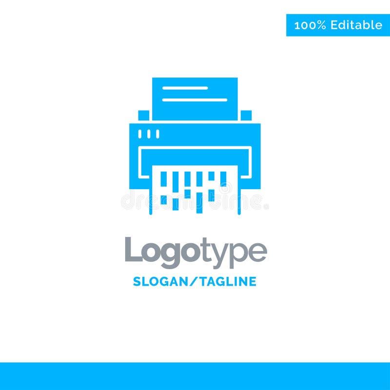 Vertraulich, Daten, Löschung, Dokument, Datei, Informationen, Reißwolf blauer fester Logo Template Platz f?r Tagline vektor abbildung