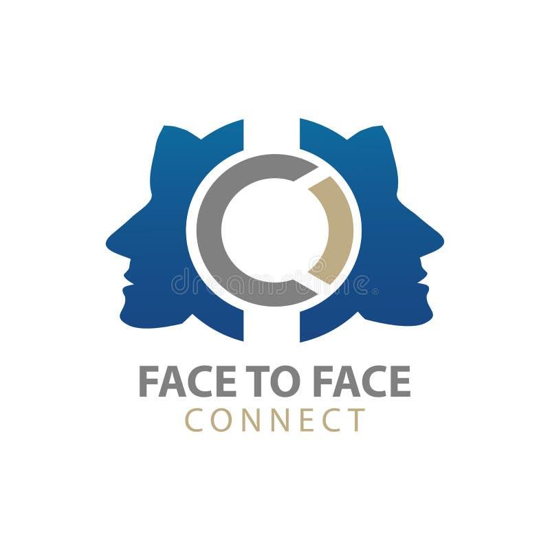 Vertraulicher menschlicher Charakter schließen Logokonzeptentwurf an Grafisches Schablonenelement des Symbols lizenzfreie abbildung