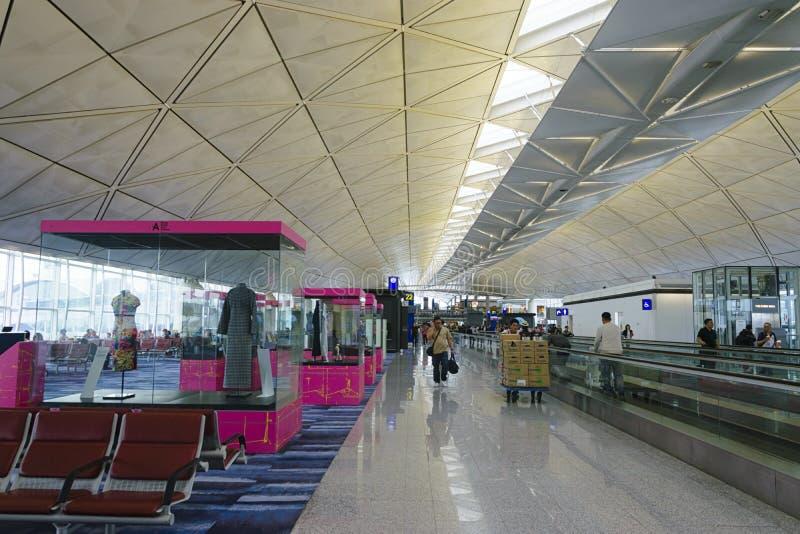Vertrek eind het wachten poort bij Hong Kong-luchthaven stock fotografie