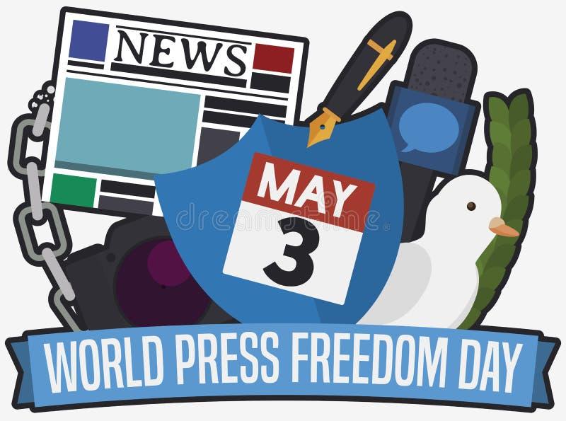 Vertreter Elements f?r sicheren Journalismus w?hrend des Weltpresse-Freiheits-Tages, Vektor-Illustration vektor abbildung