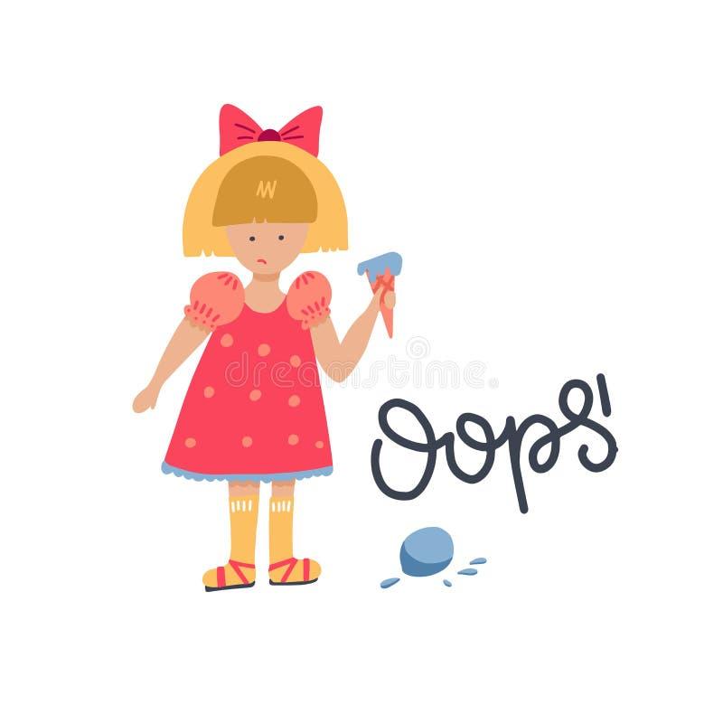 Vertrouwd meisjeskarakter Het meisje liet een bal ijs vallen Verbijsterd, verbaasde jonge dame in twijfel die boos op de royalty-vrije illustratie