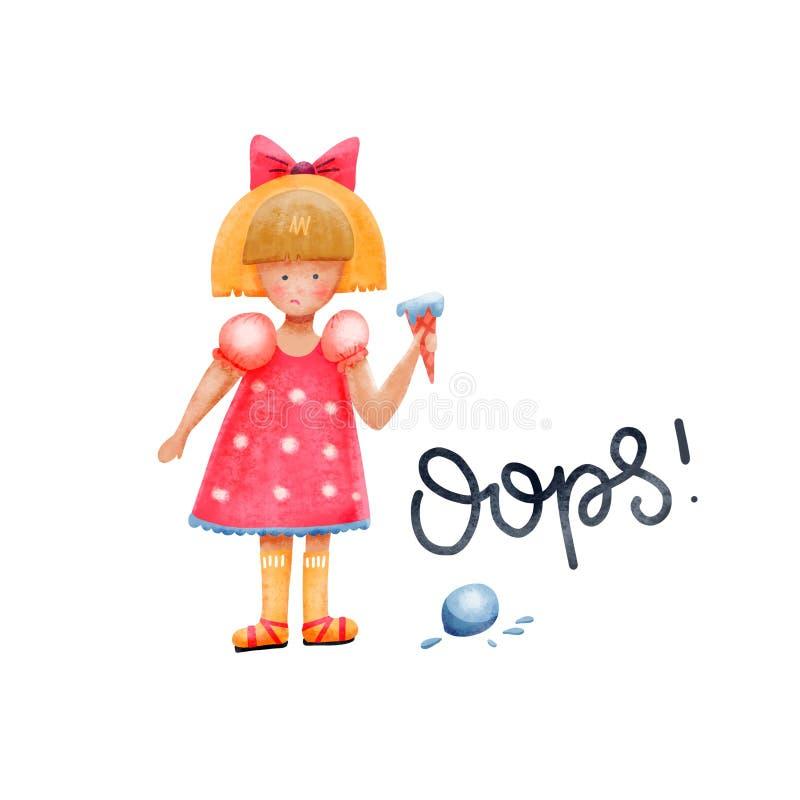 Vertrouwd meisjeskarakter Het meisje liet een bal ijs vallen Verbijsterd, verbaasde jonge dame in twijfel die boos op de vector illustratie