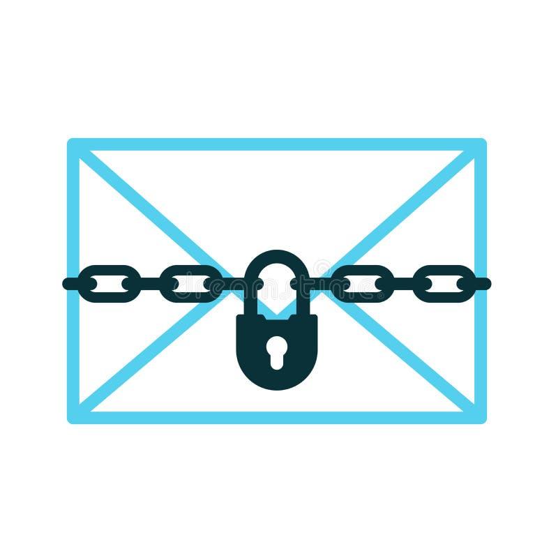 Vertrouwelijk brievenpictogram van hangslot met ketting stock illustratie