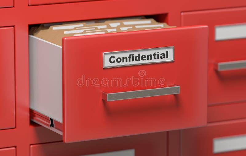 Vertrouwelijke dossiers en omslagen in kabinet in bureau 3D teruggegeven illustratie stock illustratie