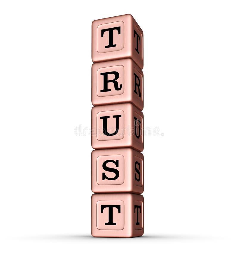 Vertrouwensword Teken Verticale Stapel van Rose Gold Metallic Toy Blocks vector illustratie