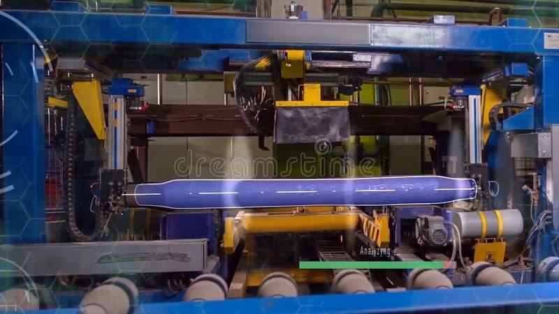 Vervaardiging van sporen voor treinen en vrachtwagen, gesloten goederenwagens Spoor productieinstallatie Stapel van staal ronde b royalty-vrije stock fotografie