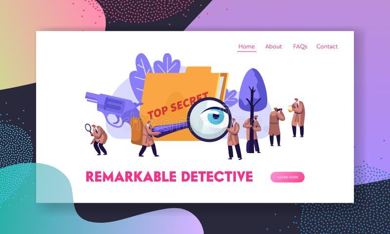 ?vervaka kriminalare och privatdetektiver p? arbete som utforskar och l?ser brott Underrättelsetjänstspioner, iakttagare royaltyfri illustrationer