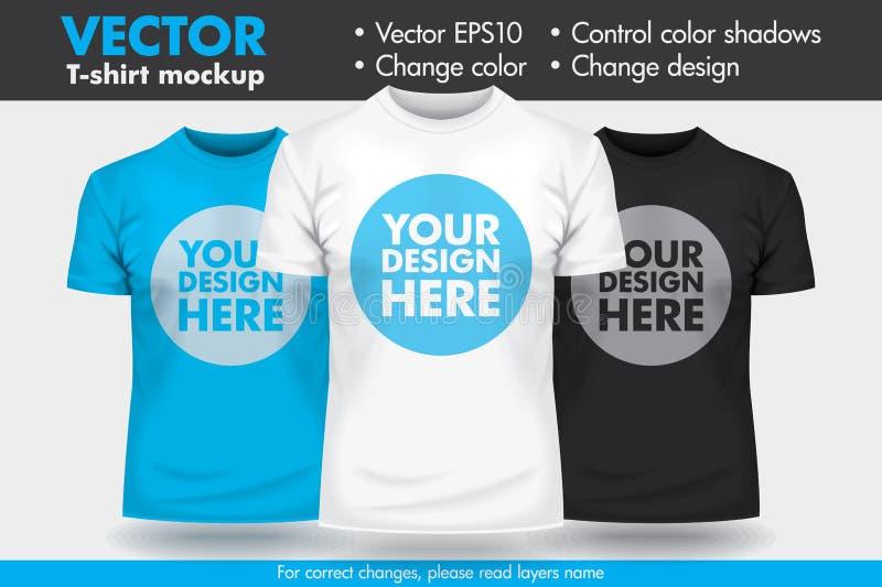 Vervang Ontwerp met uw Ontwerp, het Malplaatje van de het Modelt-shirt van Veranderingskleuren vector illustratie
