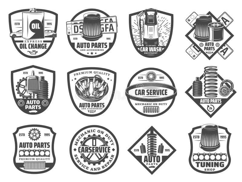 Vervangstukken, de dienst zwart-wit pictogrammen van de autoreparatie royalty-vrije illustratie