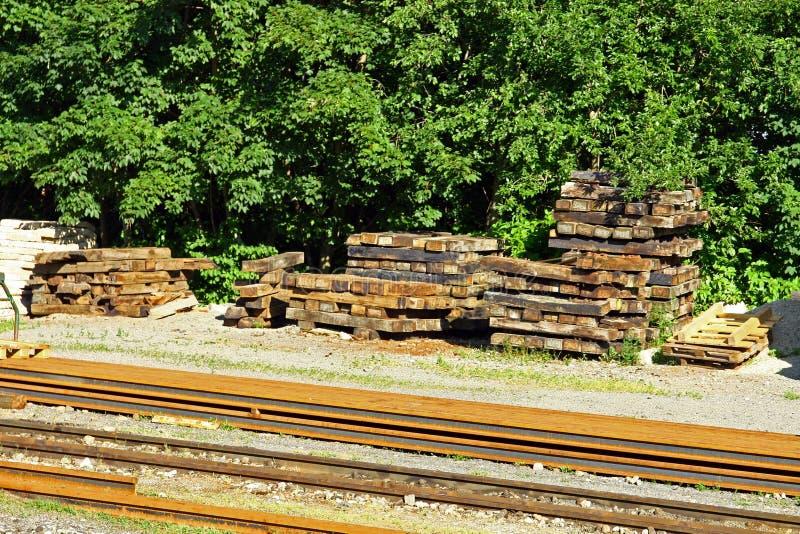 Vervangstukken voor het treinspoor royalty-vrije stock afbeeldingen