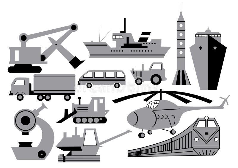 Vervoer, apparatuur, machines royalty-vrije illustratie
