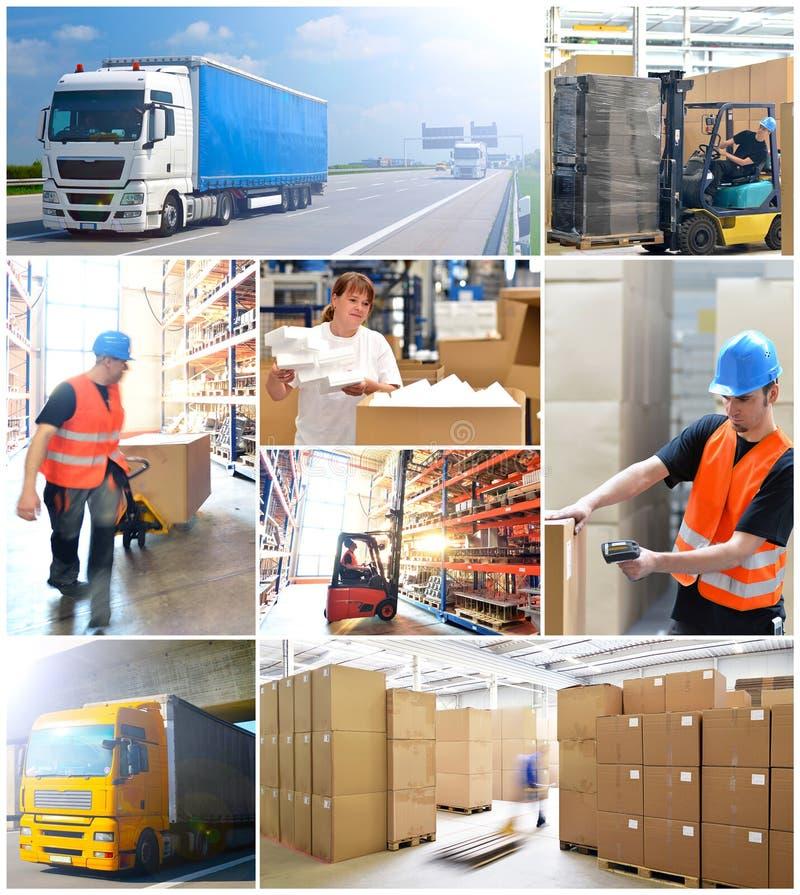 Vervoer en logistiek - het verschepen en opslag van goederen stock foto