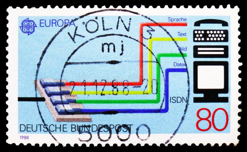 Vervoer - en mededeling, Europa (C e P T ) 1988 - Vervoer en Mededelingen serie, circa 1988 royalty-vrije stock foto's