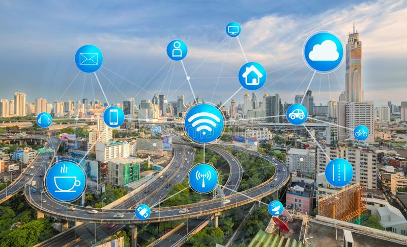 Vervoer en mededeling en Internet bij modern royalty-vrije stock foto's