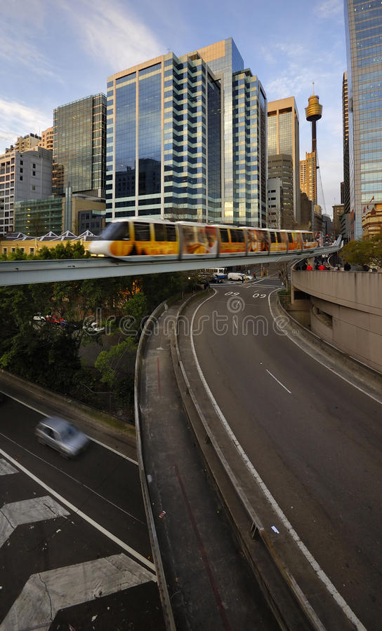 Vervoer en Monorail in Sydney Van de binnenstad stock foto's