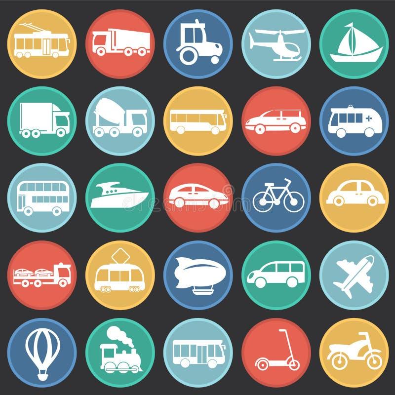 Vervoer en voertuigen op cirkels zwarte achtergrond die wordt geplaatst stock illustratie