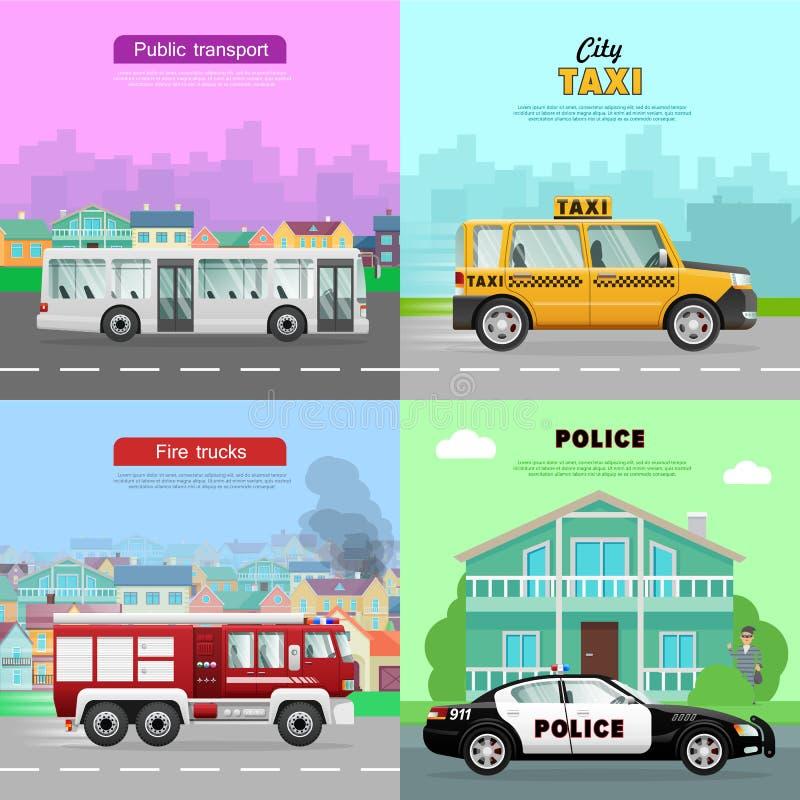 vervoer Inzameling van Vier Automobiele Beelden vector illustratie