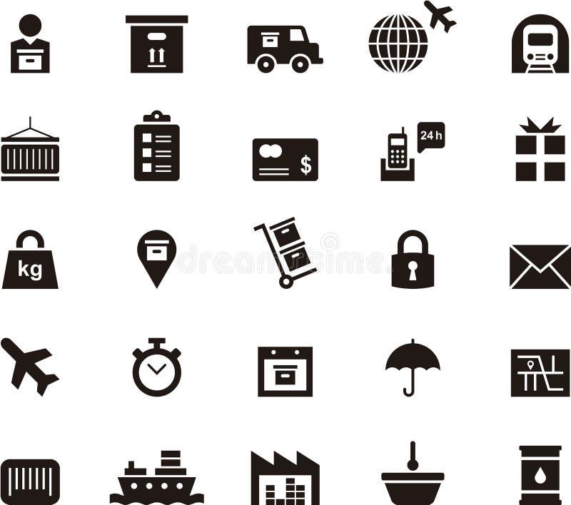 Vervoer, logistiek en verschepende pictogrammen stock illustratie