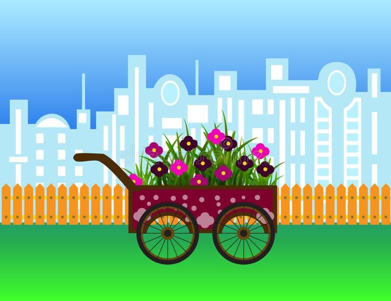 Vervoer met bloemen op modern stadssilhouet en houten omheining vector illustratie