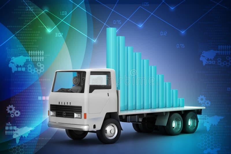 Vervoer van bedrijfsgrafiek in vrachtwagen stock illustratie