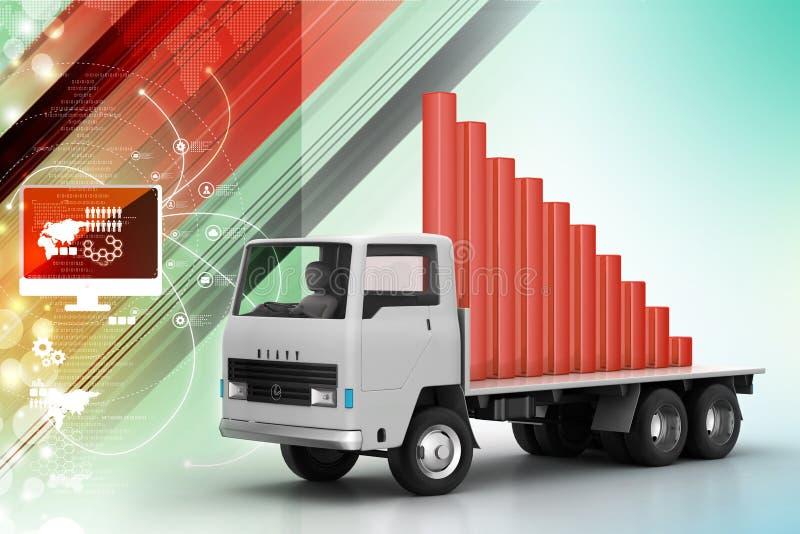 Vervoer van bedrijfsgrafiek in vrachtwagen royalty-vrije illustratie