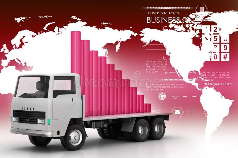 Vervoer van bedrijfsgrafiek in vrachtwagen vector illustratie