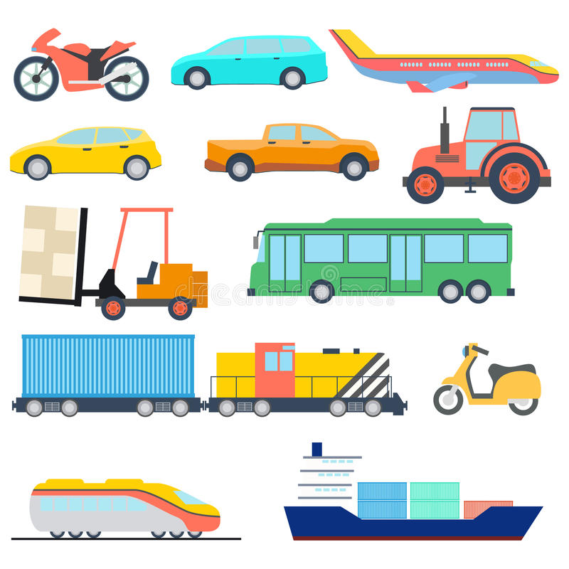 Vervoer vlak pictogram Perfecte vlakke van het autoschip en vliegtuig pictogrammen Vector illustratie stock illustratie