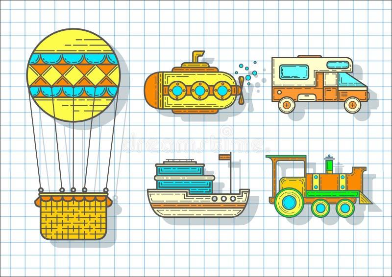 Vervoer voor reis Reeks vervoerpictogrammen, vector vector illustratie