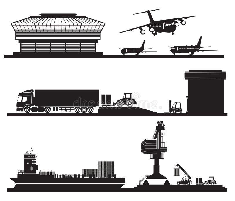 Vervoerconcept, het laden van containers in pakhuis, luchthaven, stock illustratie