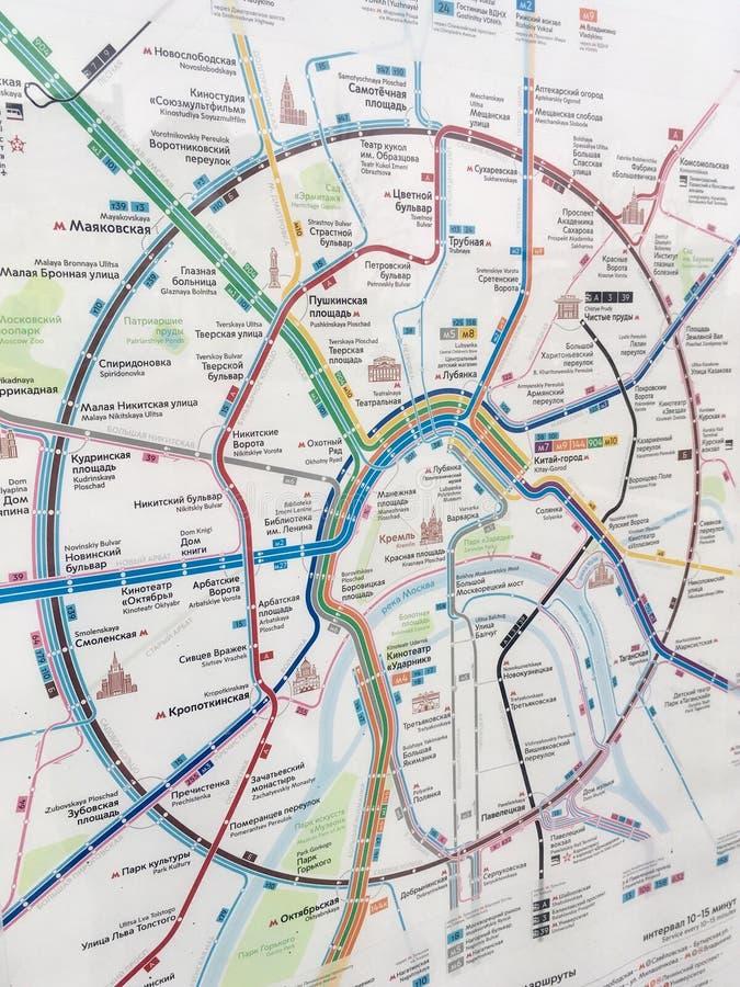 Vervoerkaart in Moskou stock fotografie