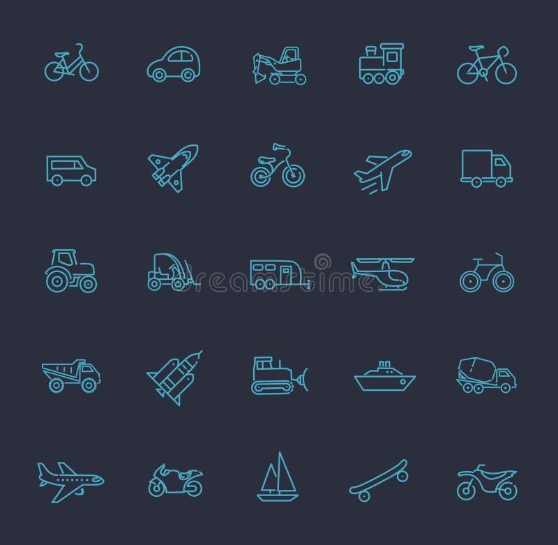 Vervoerpictogrammen, dun lijnontwerp vector illustratie